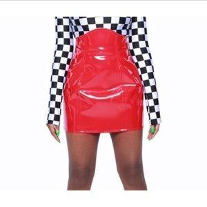 Unicorn Universe | Vinyl Corset Skirt Red Women's